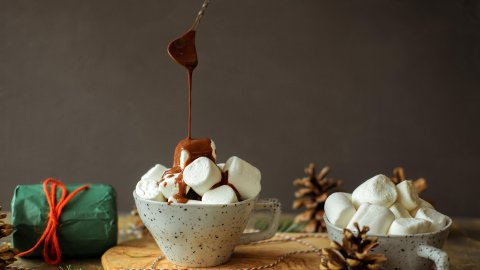 chocolate over marshmallow cup food photography